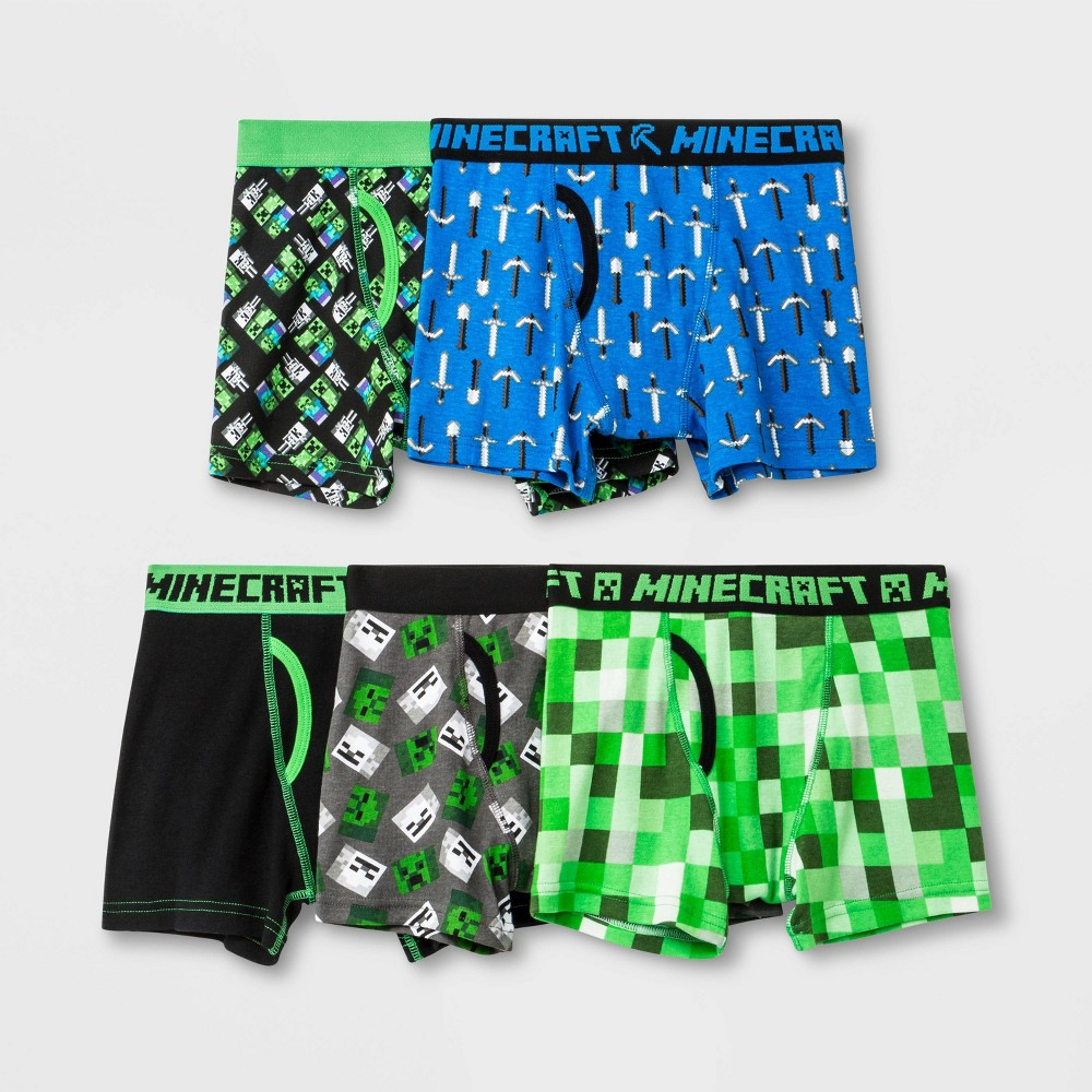 Image of Boys' Minecraft 5pk Boxer Briefs - 4, Boy's, MultiColored
