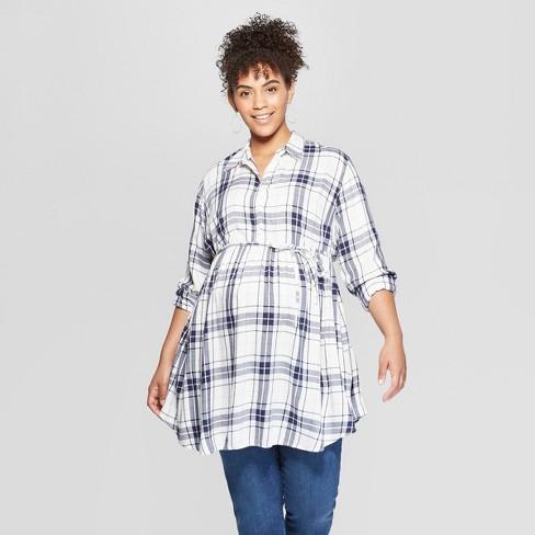 Maternity Long Sleeve Plus Size Plaid Flannel Peplum Hem Shirt - Isabel Maternity by Ingrid & Isabel™ White - image 1 of 2