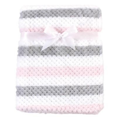 Hudson Baby Unisex Baby Plush Waffle Blanket - Pink Gray Stripe One Size