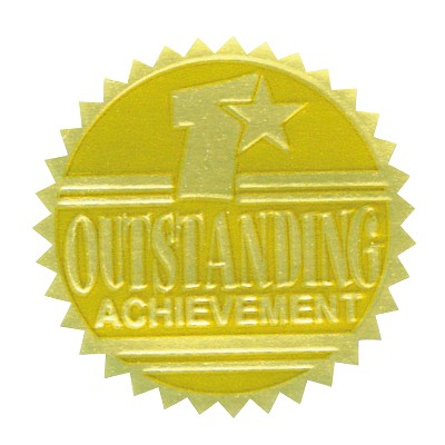 Hammond & Stephens Outstanding Achievement Gold Foil Embossed Seal, pk of 54