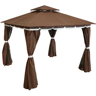 Soft Top 10' x 10' Steel Patio Gazebo with Mosquito Net and Privacy Wall - Sunnydaze Decor