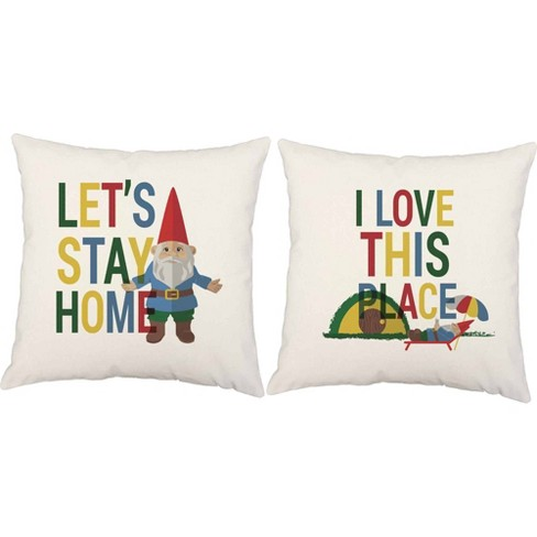 Set Of 2 Let S Stay Home I Love This Place Throw Pillows 16x16 Square White Indoor Outdoor Cushions Roomcraft Target