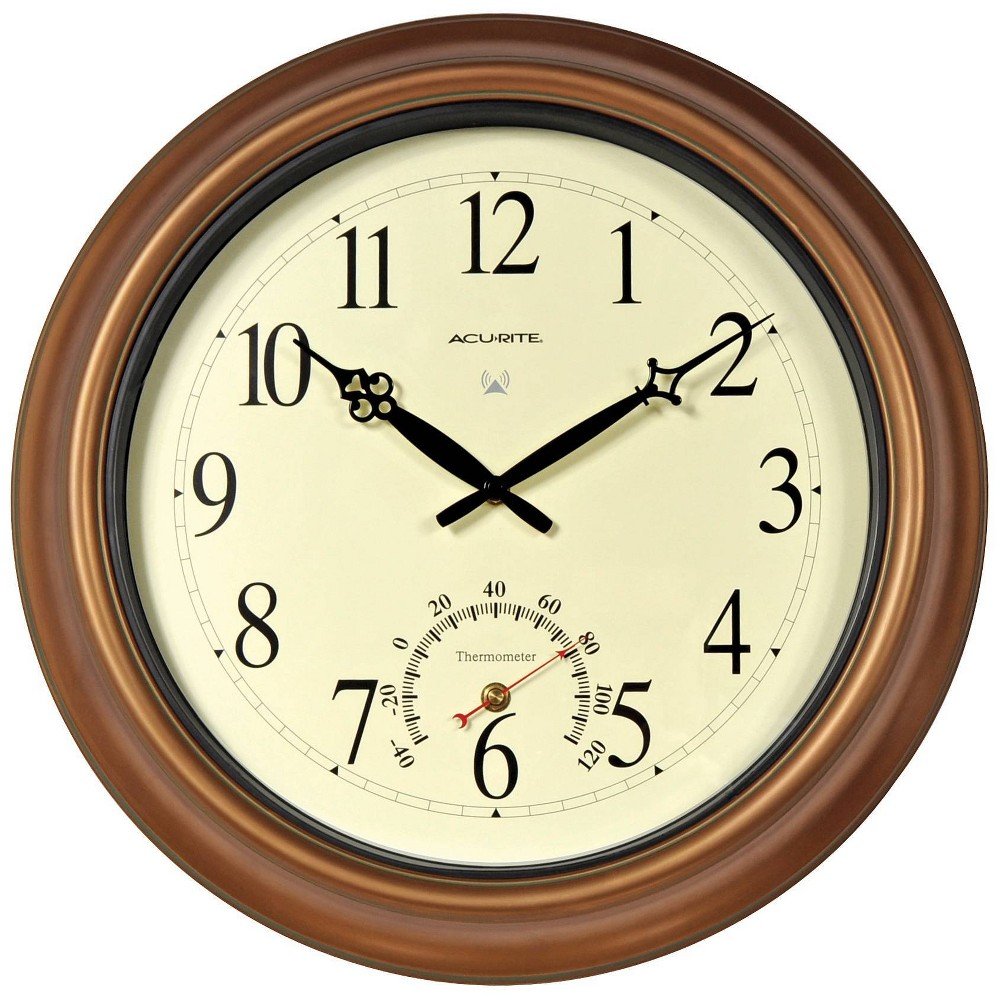 "Image of ""18"""" Metal Outdoor / Indoor Atomic Clock with Thermometer - Copper Finish - Acurite"""