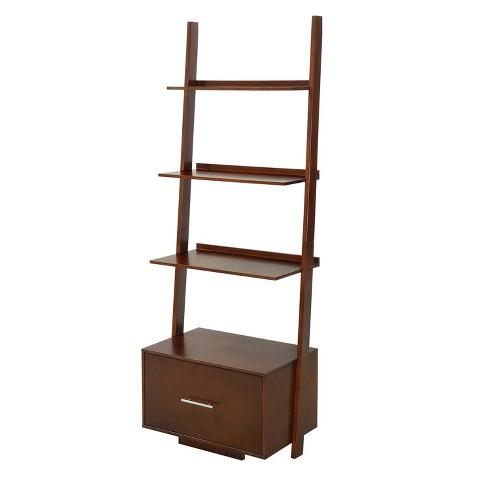 0474e67fcb American Heritage Bookshelf Ladder With Drawer Espresso 69