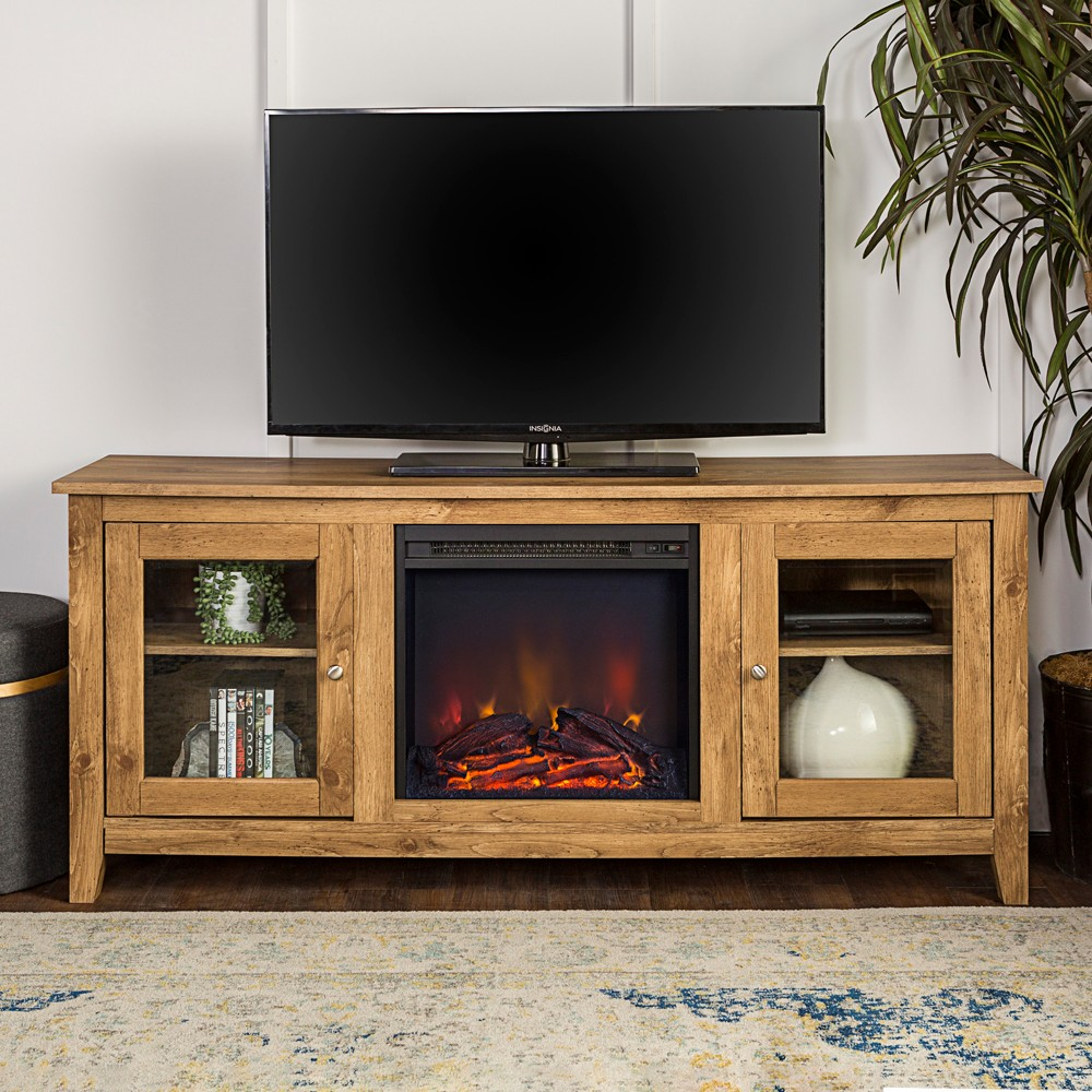 58 Wood Media TV Stand Console with Fireplace - Barnwood - Saracina Home