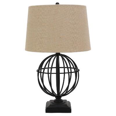 Iron Base Burlap Shade Table Lamp Black - Decor Therapy