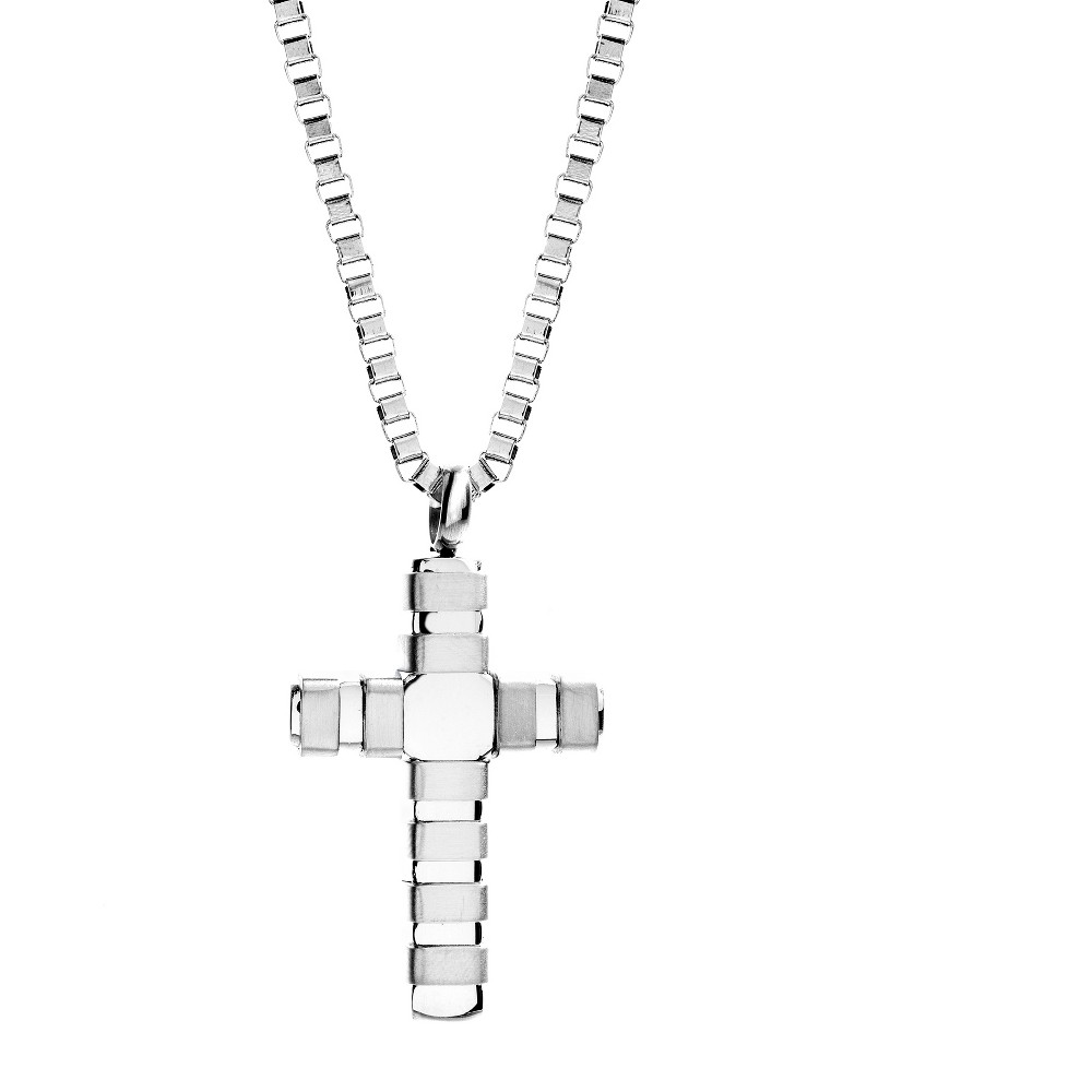 Image of Silver-Tone Stainless Steel Men's Cross pendant 24 Box Chain Necklace, Silver