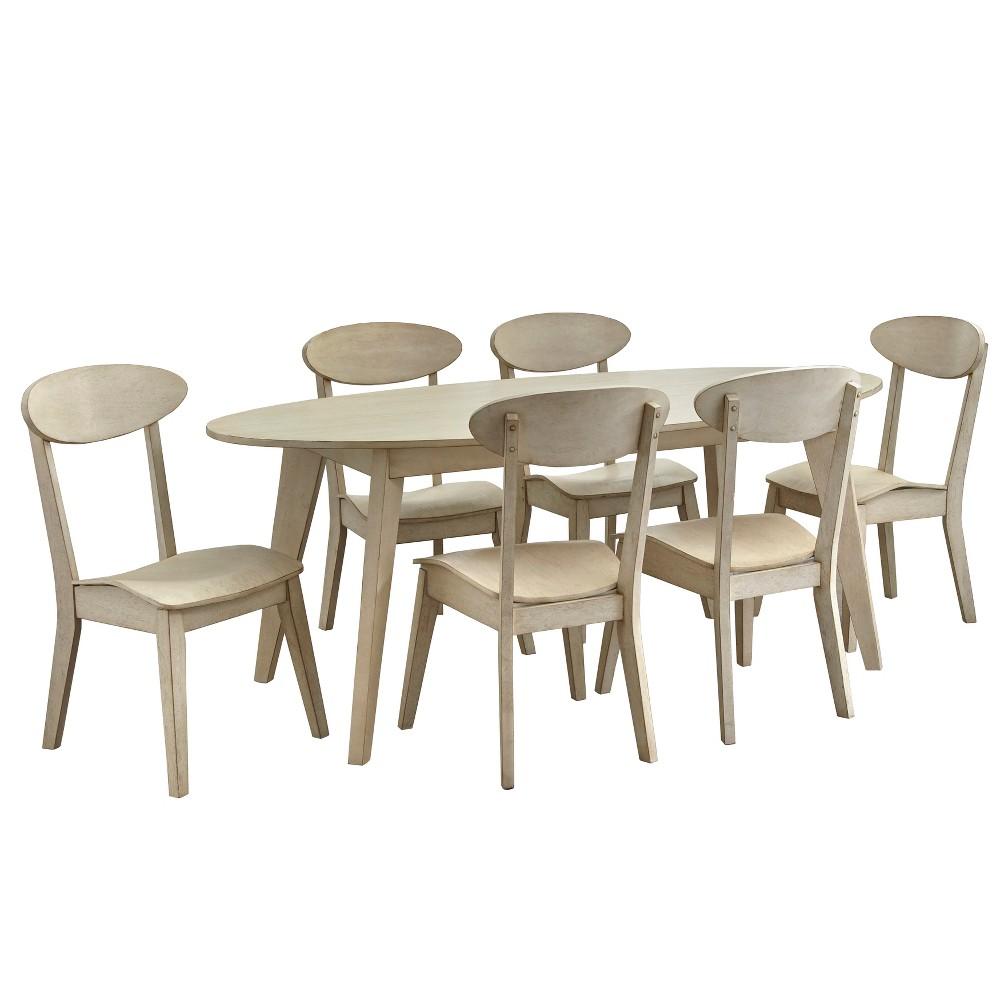 Image of 7pc Colette Dining Set Antique White - Lifestorey, Beige