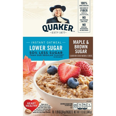 Quaker Lower Sugar Instant Oatmeal Maple & Brown Sugar - 10ct - image 1 of 5