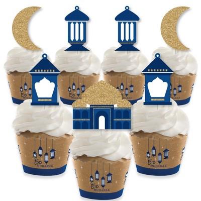 Big Dot of Happiness Ramadan - Cupcake Decoration - Eid Mubarak Cupcake Wrappers and Treat Picks Kit - Set of 24
