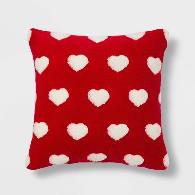 Square Sherpa Valentine's Day Hearts Pillow Red -Spritz™