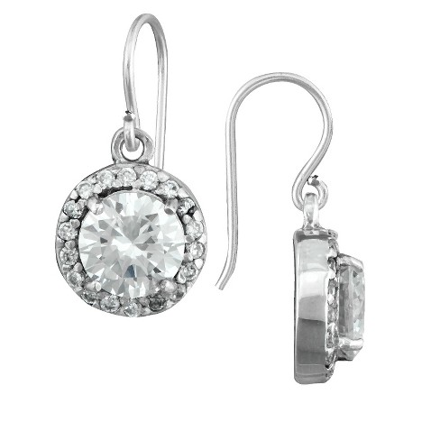 Silver Plated Cubic Zirconia Halo Round Dangle Earrings - image 1 of 1