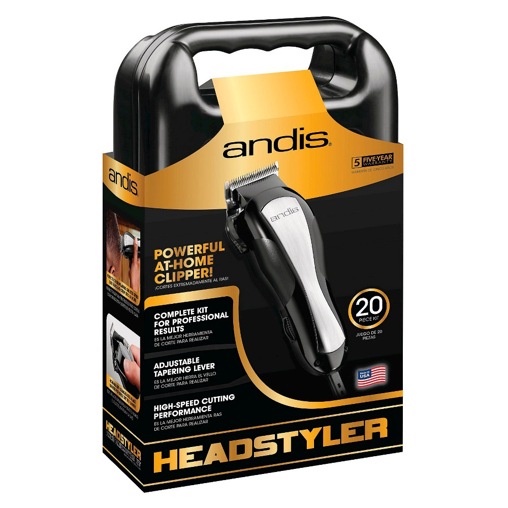 Andis HeadStyler Men's Electric Clipper 20 Piece Haircutting Kit - 68100, Black