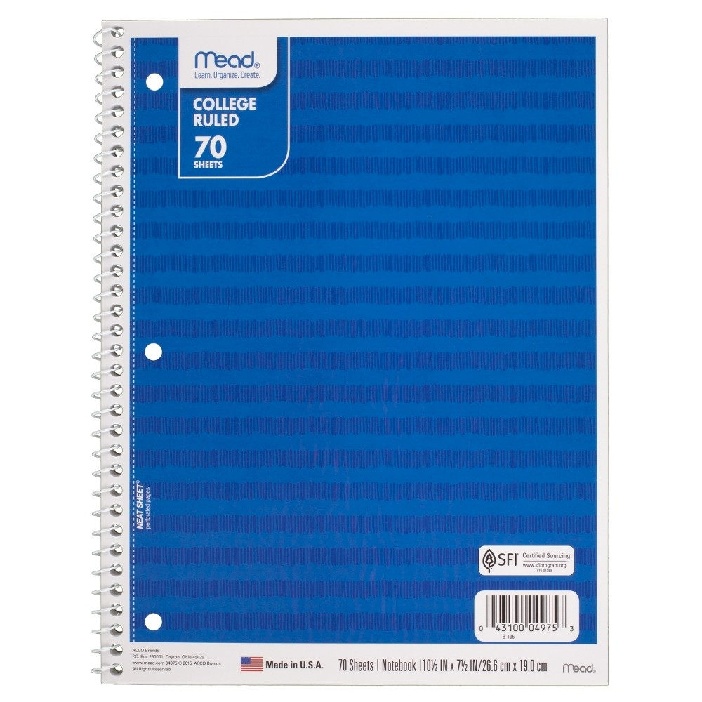 Mead Spiral Notebook 1 Subject College Ruled - Blue Stripes