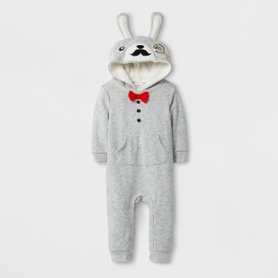 Baby Boys' Mustache Bunny Romper - Cat & Jack™ Gray 3-6 M