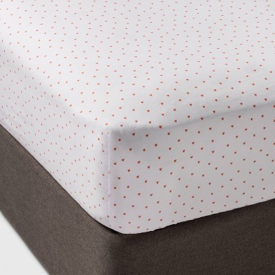 Micro Heart Fitted Sheet Separates Coral - Pillowfort™