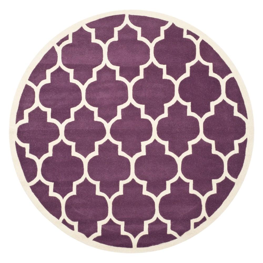 4' Quatrefoil Design Tufted Round Area Rug Purple/Ivory - Safavieh