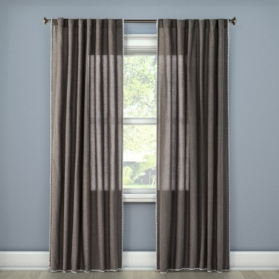 "54""x84"" Stitched Edge Curtain Panel Dark Gray - Threshold™"
