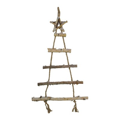 """Northlight 32"""" Natural Brown Twig Tree with Star Wall Hanging Christmas Decor"""