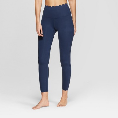 Women's Premium High-Waisted 7/8 Scallop Leggings - JoyLab™ Navy M