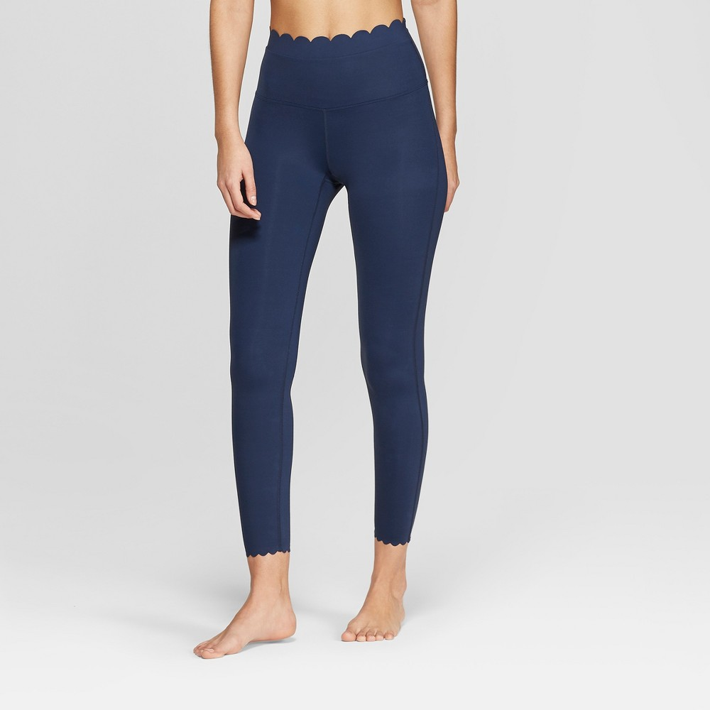 Women's Premium High-Waisted 7/8 Scallop Leggings - JoyLab Navy (Blue) XS