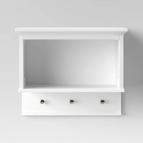 Wall Shelf With Hooks White Threshold