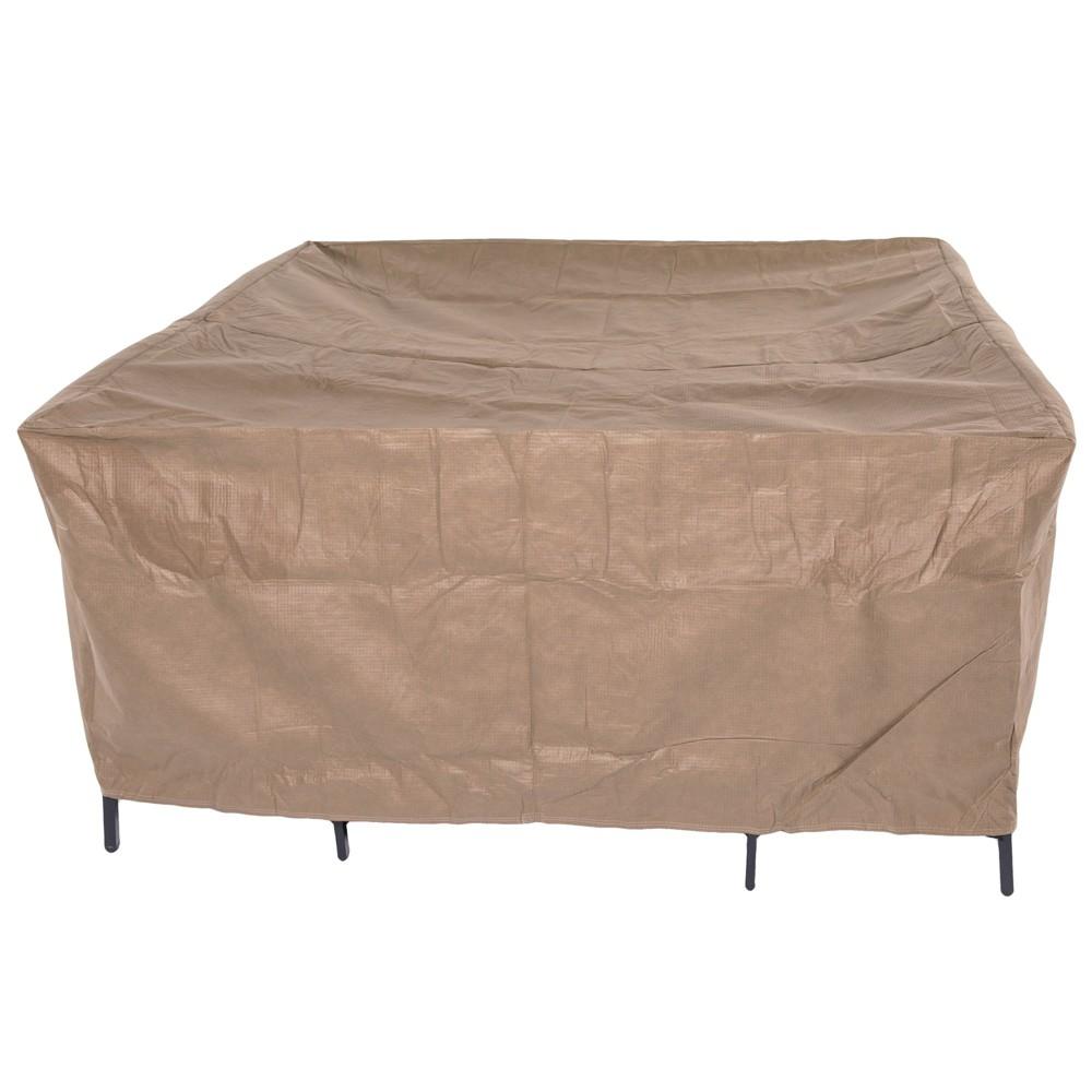 """Image of """"92""""""""L Essential Square Patio Table & Chair Set Cover Cafe Latte - Classic Accessories"""""""