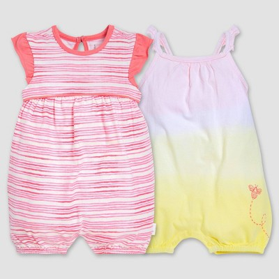 Burt's Bees Baby® Girls' 2pk On the Road Organic Cotton Rompers - 0-3M