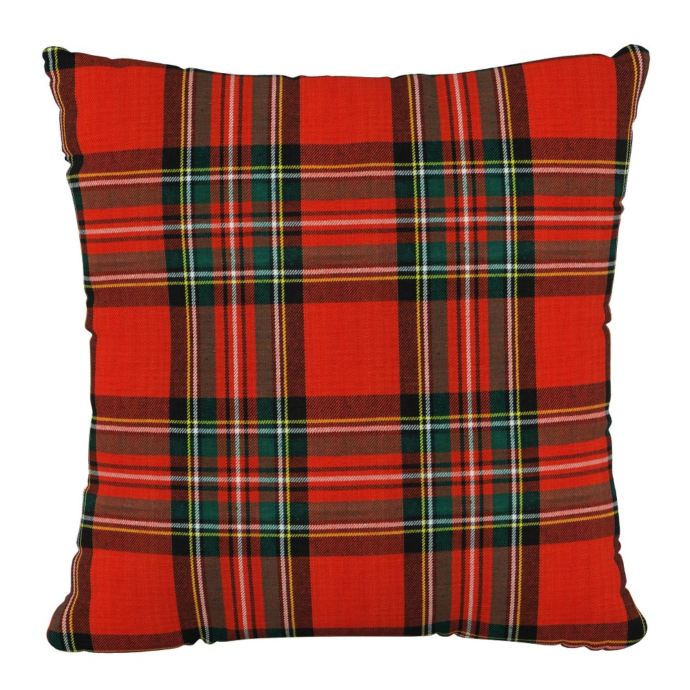 "Image of ""18""""X18""""Polyester Square Pillow in Ancient Stewart Red - Skyline Furniture"""