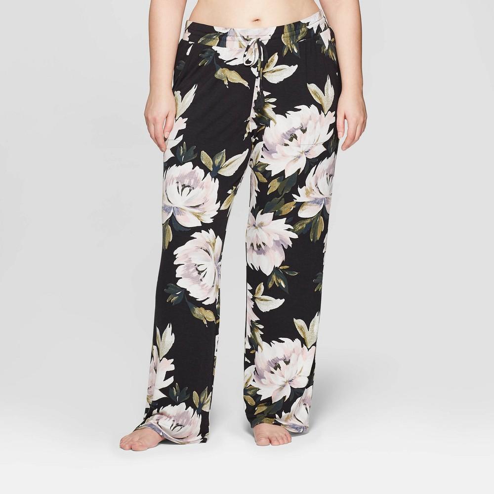 Women's Floral Print Plus Size Beautifully Soft Pajama Pants - Stars Above Black 2X