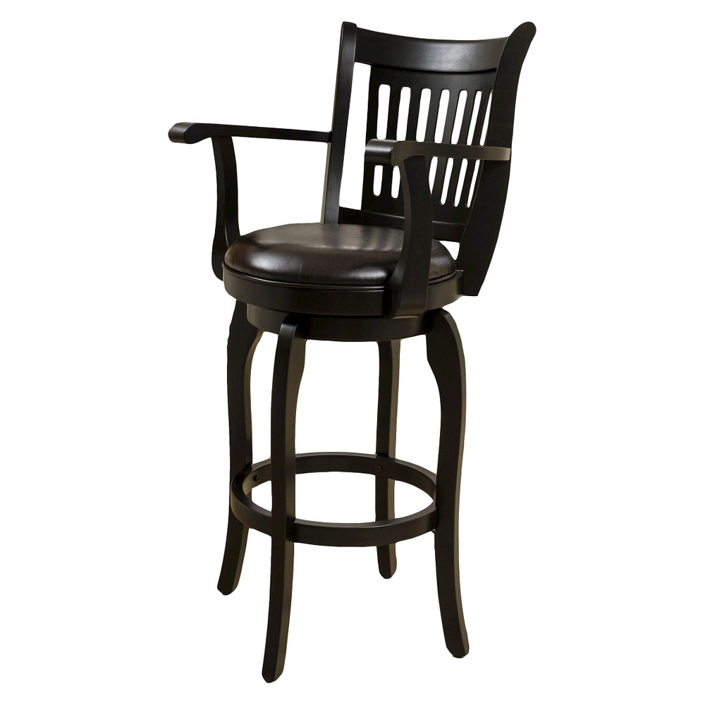 30 Prescott Bonded Leather Swivel Barstool with Arms - Espresso (Brown) - Christopher Knight Home