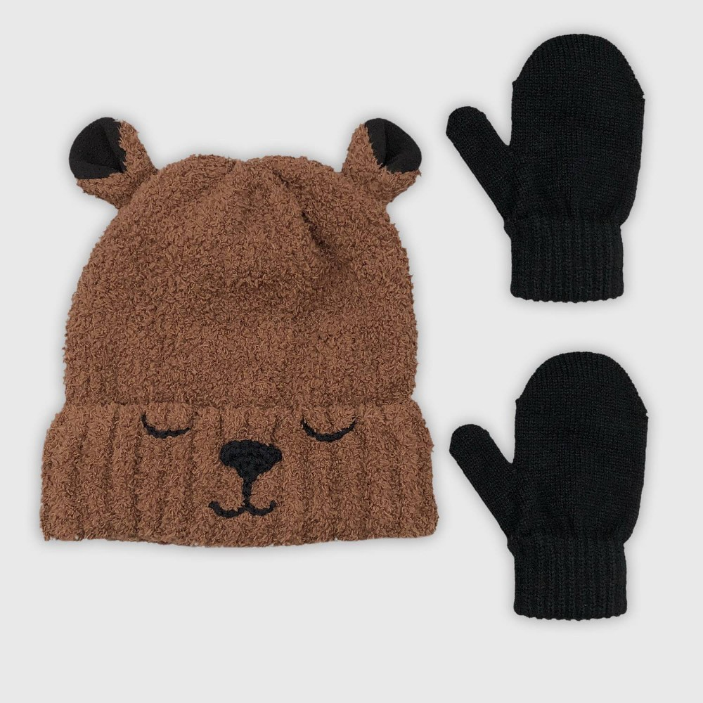 Image of Baby Boys' Hat And Glove Set - Cat & Jack Brown 12-24M, Boy's