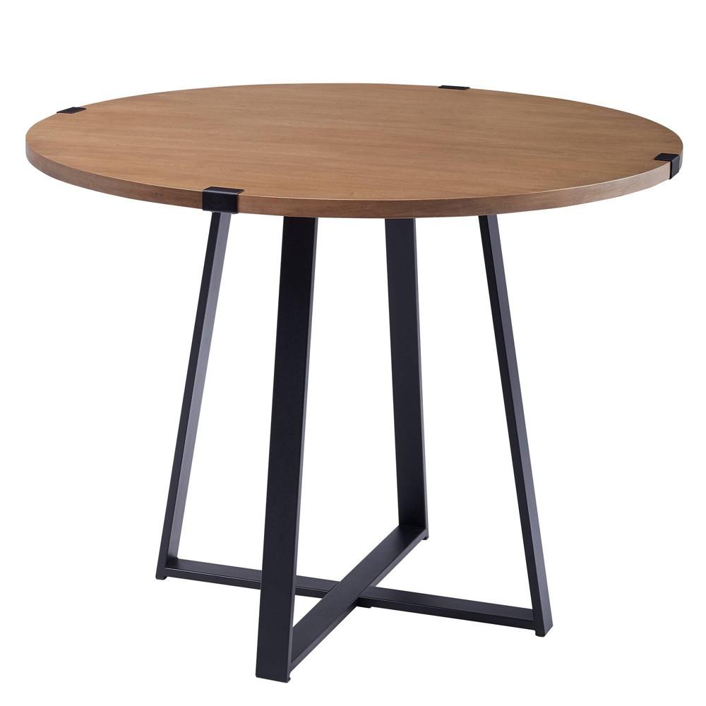 40 Round Dining Table English Oak/Black - Saracina Home