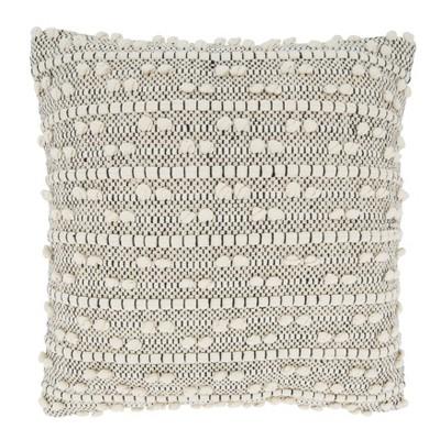 "18""x18"" Poly-Filled Moroccan Design Square Throw Pillow Natural - Saro Lifestyle"