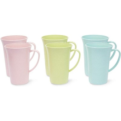 Okuna Outpost 6-Pack Unbreakable Wheat Straw Tea Cups, Plastic Travel Coffee Mugs with Handles 15 oz