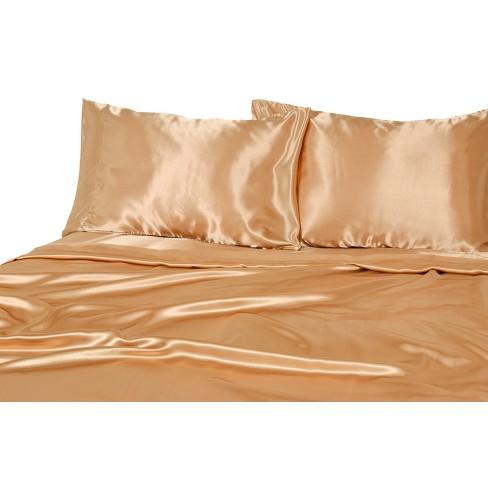 Twin Luxury Satin Solid Sheet Set Gold, Gold Satin Bedding