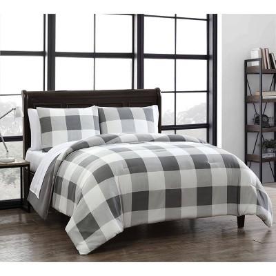 Queen 7pc Buffalo Plaid Quilt Set Gray/White - Geneva Home Fashion