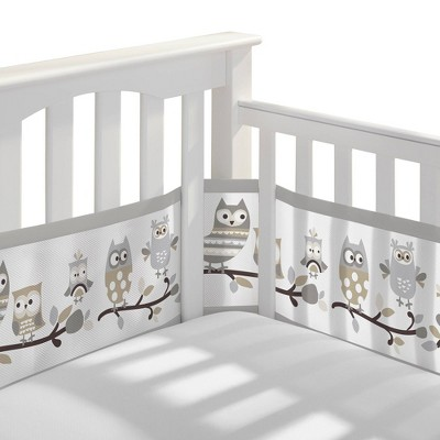 Breathable Baby Classic Breathable Mesh Crib Liner - Owl Fun Gray