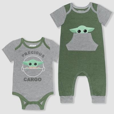 Baby Boys' Star Wars 2pk Baby Yoda Romper - Gray 3-6M