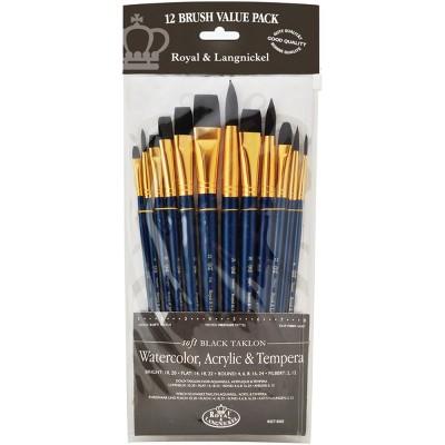 Black Taklon Value Pack Brush Set-12/Pkg
