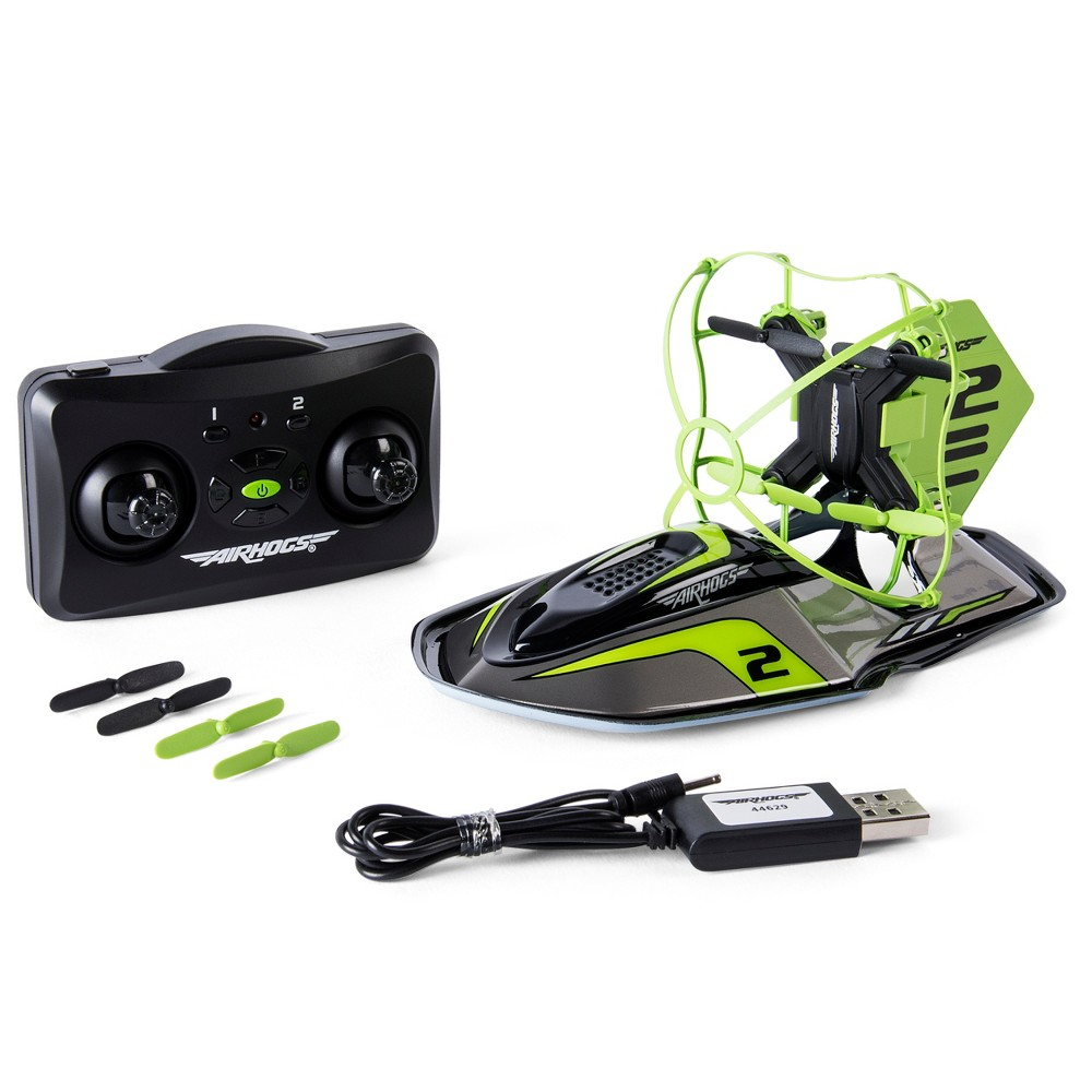 Image of Air Hogs 2-in-1 Hyper Drift Drone for Kids, Capable of High Speed Racing and Flying - Green
