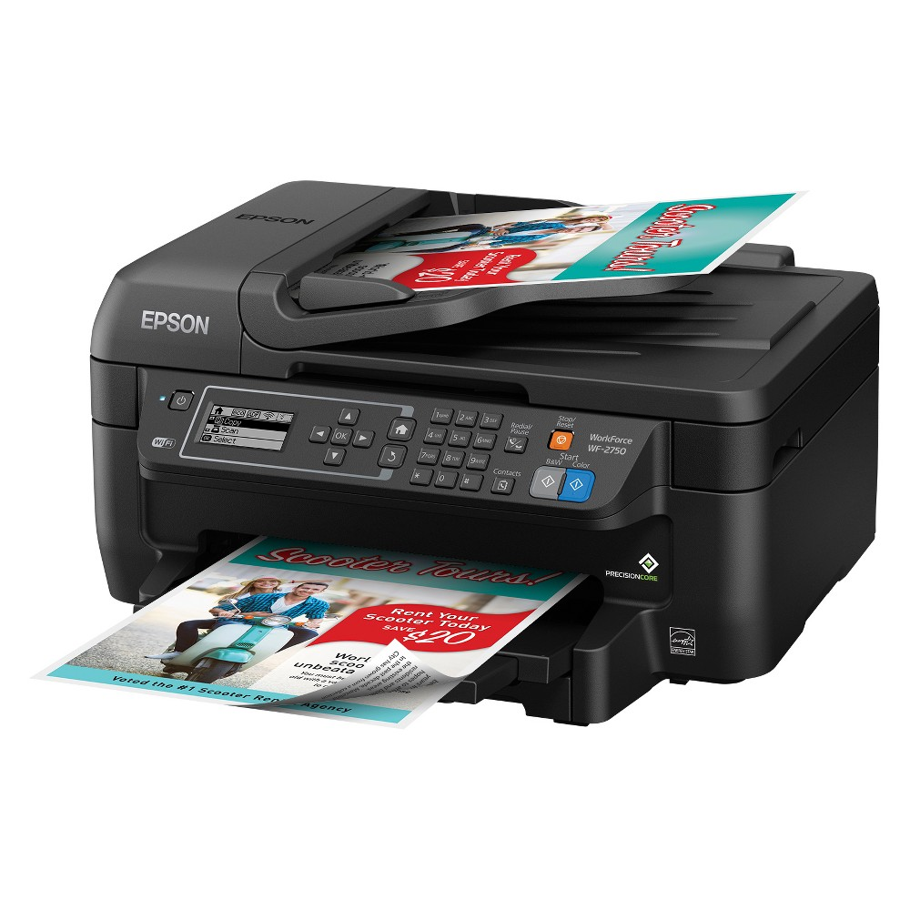 Epson WF-2750 Inkjet Printer - Black (C11CF76201) Powered by PrecisionCore, this all-in-one printer offers Laser-Quality Performance and fast print speeds. It features a 150-sheet capacity, auto 2-sided printing and a 30-page Adf. Color: Black.