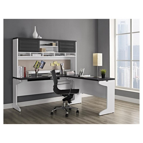 Pursuit L Shaped Desk With Hutch Bundle White Gray Ameriwood Home Target