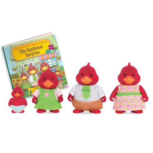 Li'l Woodzeez Miniature Animal Figurine Set - Tailfeather Cardinal Family - image 1 of 4