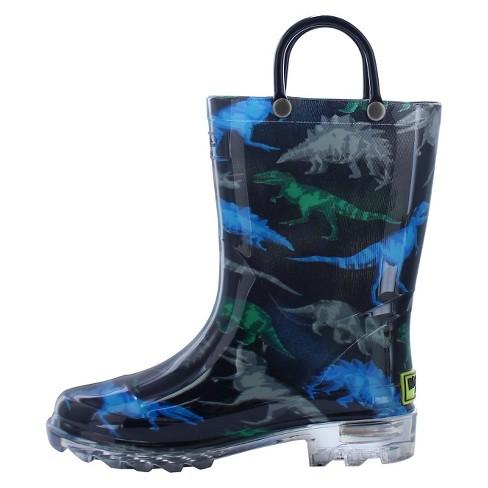 6a58b517b6c57 Toddler Boy Dinosaur Friends Lighted Rain Boot Black - Western Chief ...
