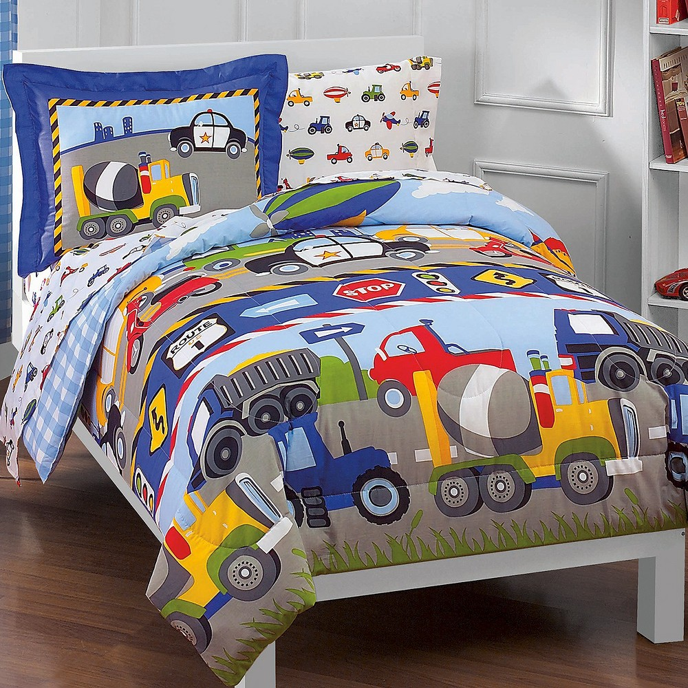 Image of Dream Factory Trains and Trucks Mini Bed in a Bag - Blue (Twin)