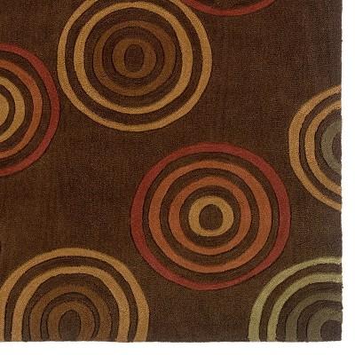 5'x7' Trio Collection Concentric Circles Area Rug Chocolate/Terracotta - Linon