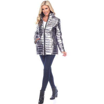 Women's Metallic Puffer Coat - White Mark