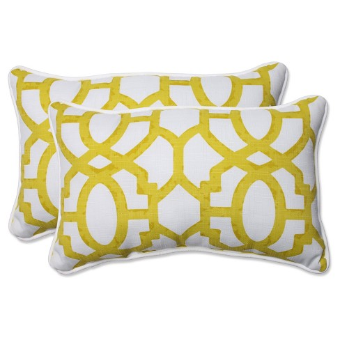 Pillow Perfect Nunu Geo Wasabi Outdoor Throw Pillow Set White Target