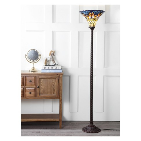 70 Peacock Tiffany Style Torchiere Led Floor Lamp Bronze Includes